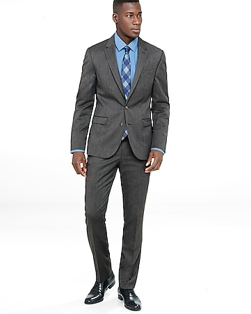 skinny innovator gray wool blend twill suit pant