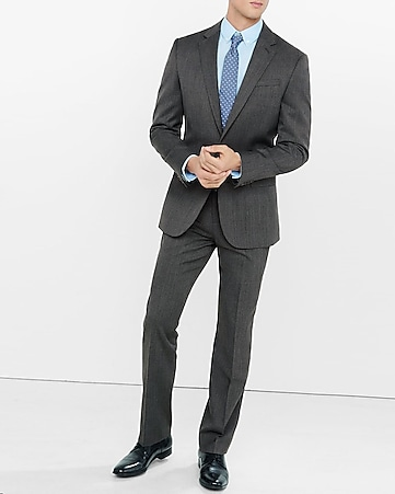 modern producer gray wool blend twill suit pant