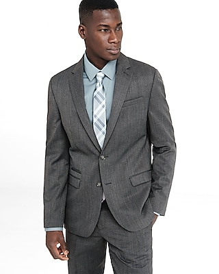 Express Mens Slim Photographer Gray Wool Blend Suit Jacket