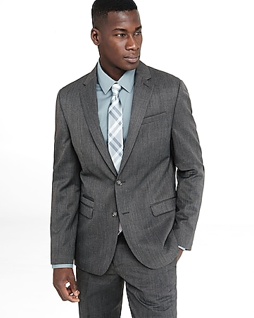 slim photographer gray wool blend suit jacket