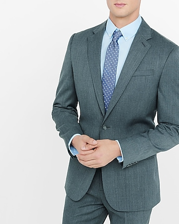 gray wool blend producer suit jacket