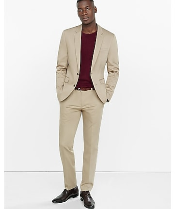 extra slim innovator cotton sateen khaki suit pant