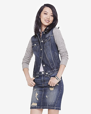 sweatshirt sleeve hooded denim jacket
