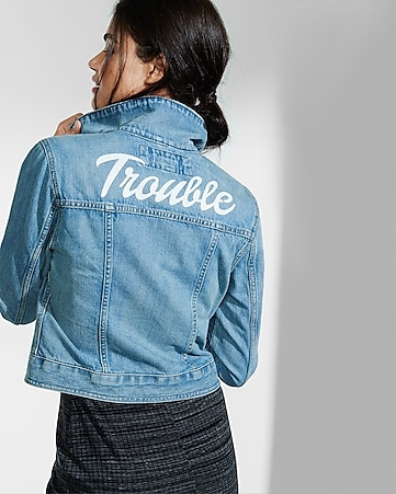 trouble graphic denim jacket