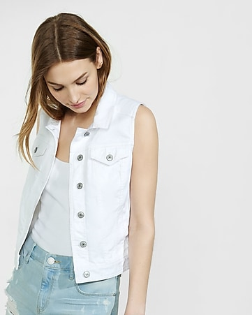 white shrunken denim vest