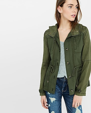 two-tone light olive parka