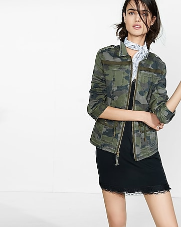 camouflage zip front military parka