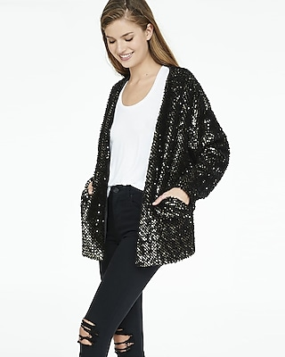 EXPRESS Women's Outerwear Fuzzy Sequined Coatigan Black Small