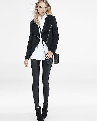 EXPRESS Women's Outerwear Faux Suede Asymmetrical Moto Jacket Black Small