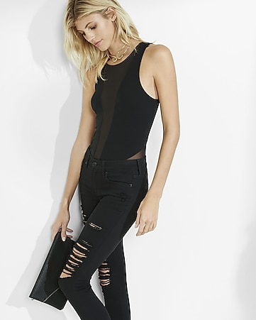 mesh inset cut-out bodysuit