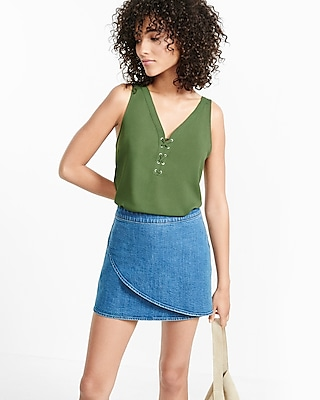 Express Womens Mixed Fabric Lace-Up Tank Green X Small