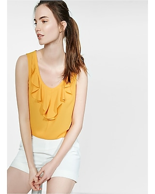 Express Womens Ruffle Front Tie Back Tank