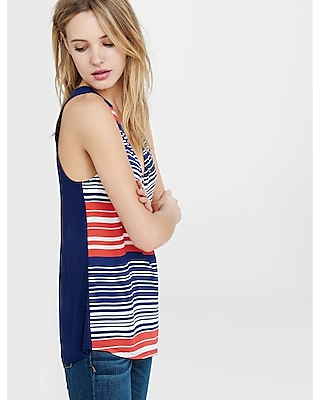 EXPRESS Women's Tanks Blue And Red Striped Zip Front Tank Red Medium