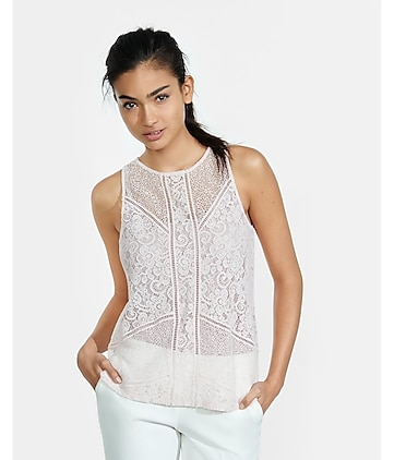 sheer mixed lace tank