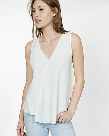 mixed fabric mesh trim deep v-neck tank