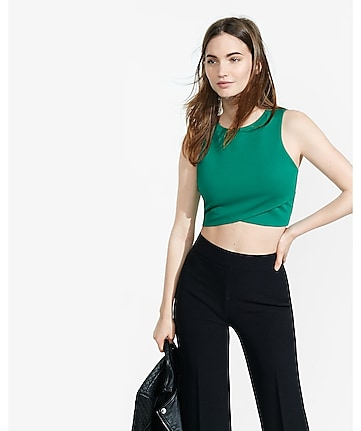 crisscross zip back crop top