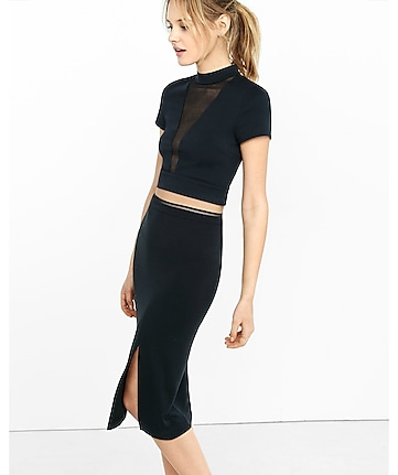 deep v mesh inset cropped top