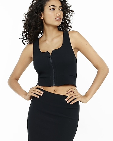 black ribbed zip front cropped tank
