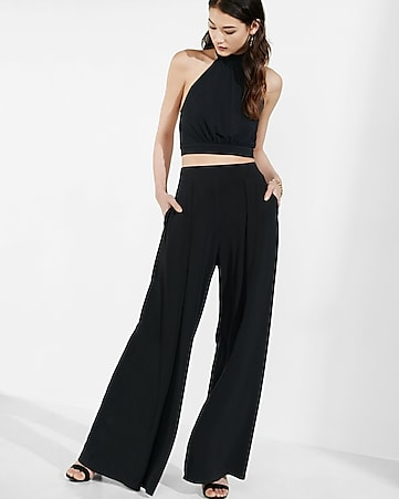 mock neck open back cropped top