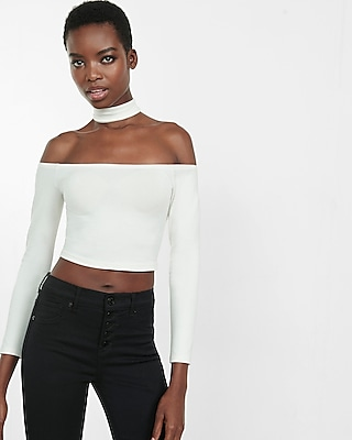 Express Womens Off The Shoulder Choker Cropped Top White X Small