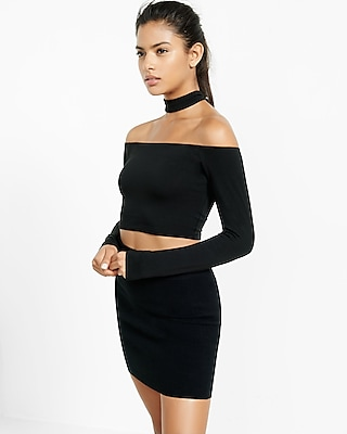 Express Womens Off The Shoulder Choker Cropped Top