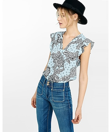medallion floral v-neck flutter cap sleeve blouse