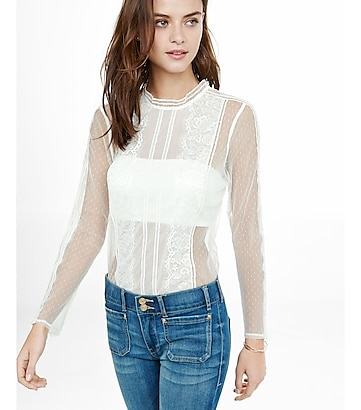 lace and mesh blouse with bandeau