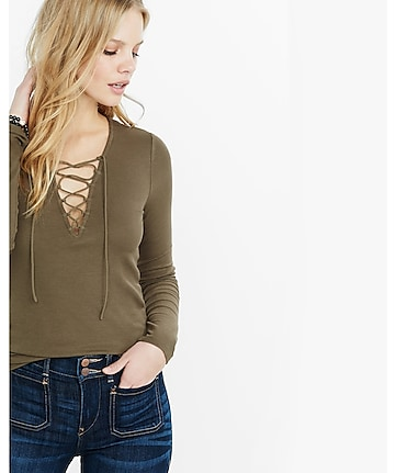 lace-up ribbed long sleeve tee