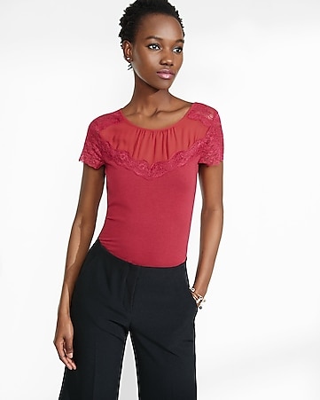 mesh and lace yoke fitted tee