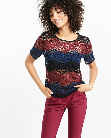 floral lace  stripe tee