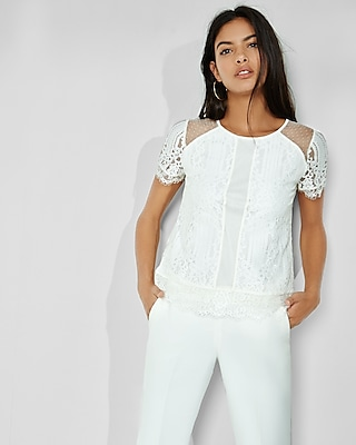 Express Womens Mixed Mesh And Lace Tee White Small