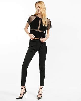 Express Womens Sheer Mesh And Velvet Cropped Tee Black X Small 75142786