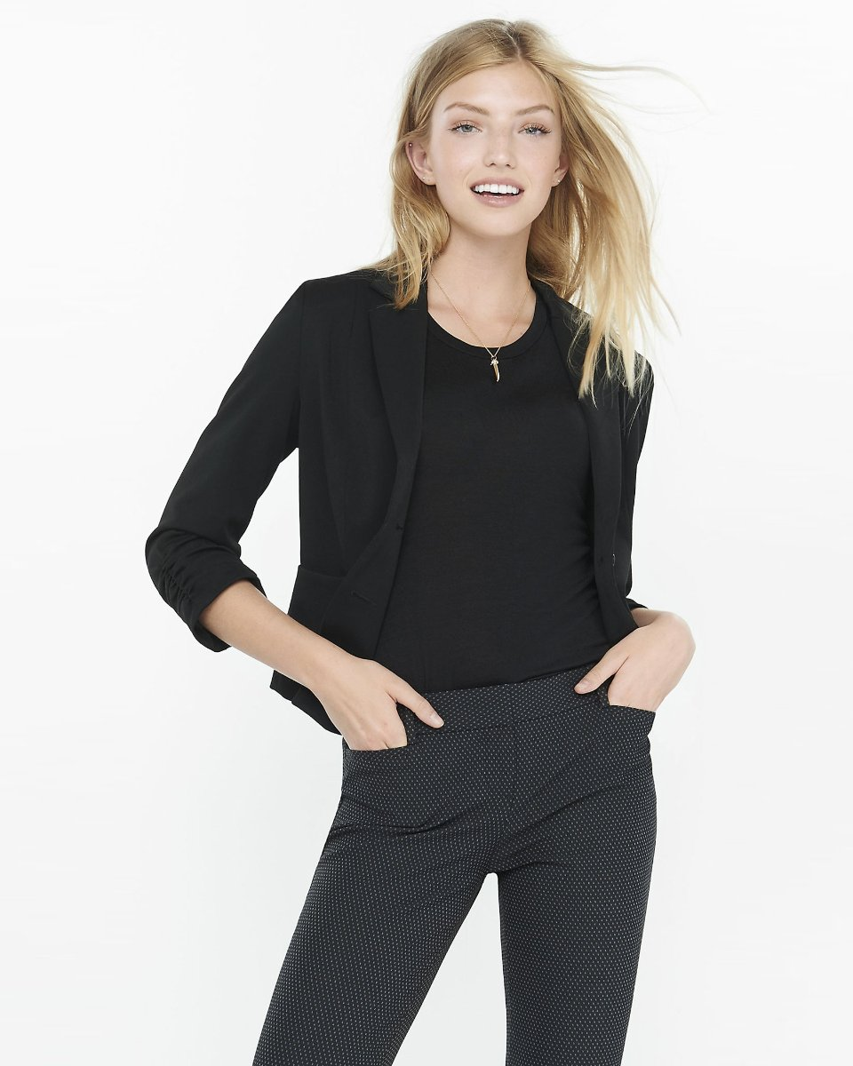 RUCHED SLEEVE STUDIO STRETCH JACKET