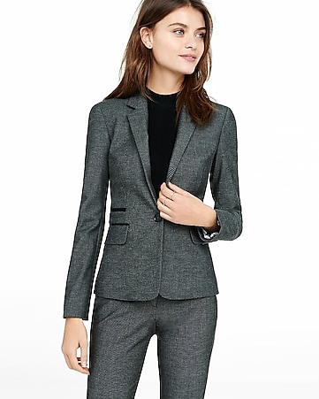 piped tweed blazer