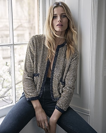 express edition gold sequined and beaded jacket
