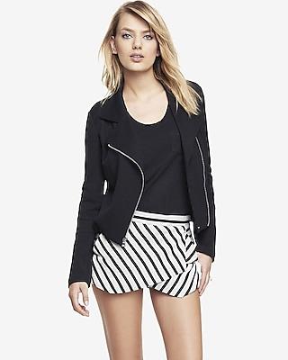 Express Womens Textured Knit Moto Jacket