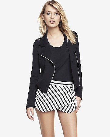 textured knit moto jacket