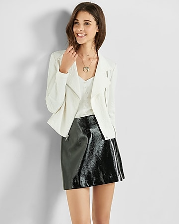 embossed moto jacket