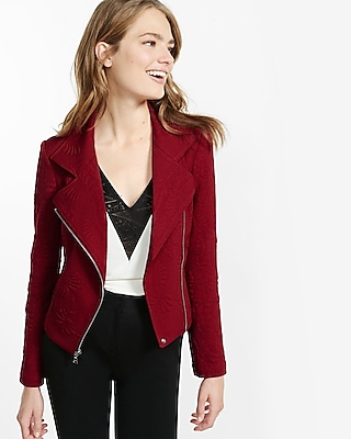 Express Womens Embossed Moto Jacket Red X Small