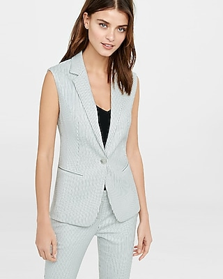EXPRESS Women's Outerwear Pinstripe Sleeveless Jacket Black X Small