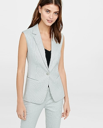 pinstripe sleeveless jacket