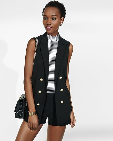 sleeveless faux double breasted jacket