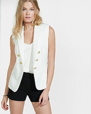 Express Womens Ivory Sleeveless Faux Double Breasted Jacket