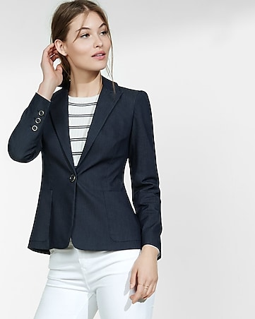 denim puff sleeve one button blazer