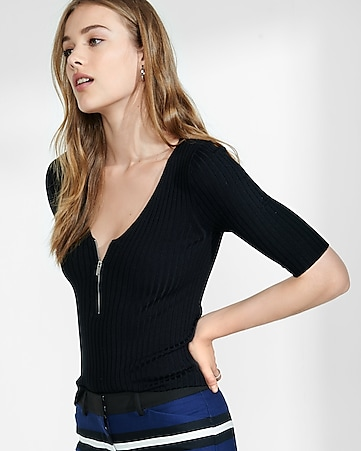 ribbed zip front elbow sleeve sweater