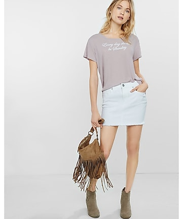 high waisted white raw hem denim mini skirt