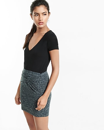 space dye knitted front mini skirt