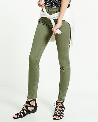 Express Womens Mid Rise Olive Five Pocket Pant