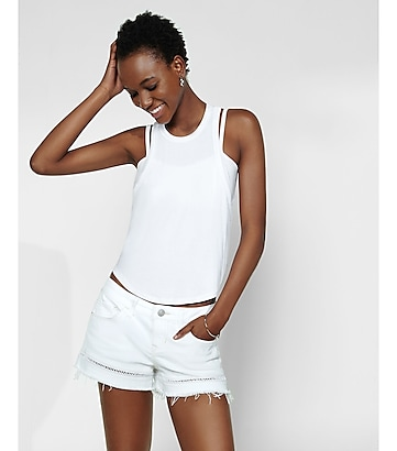 white lattice trim cutoff denim shorts