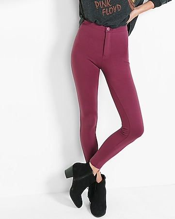 burgundy high waisted ponte knit leggings